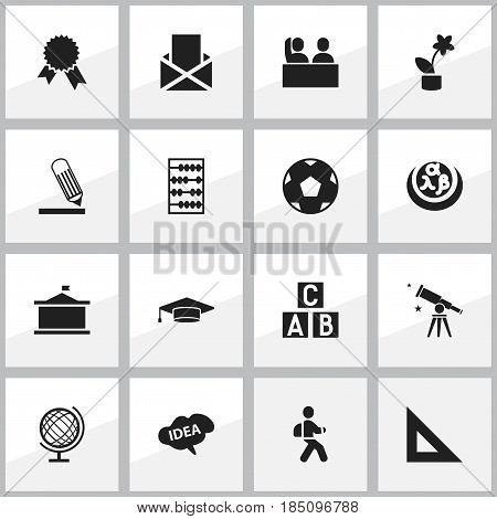 Set Of 16 Editable University Icons. Includes Symbols Such As Plant Pot, Univercity, Student And More. Can Be Used For Web, Mobile, UI And Infographic Design.