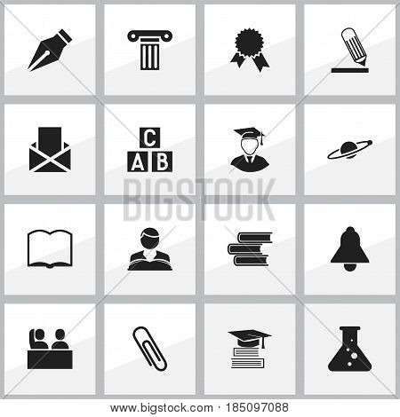 Set Of 16 Editable Education Icons. Includes Symbols Such As Writing, Victory Medallion, Studying Boy And More. Can Be Used For Web, Mobile, UI And Infographic Design.