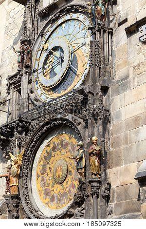 Prague astronomical clock Orloj on Old Town Hall Prague Czech Republic Europe