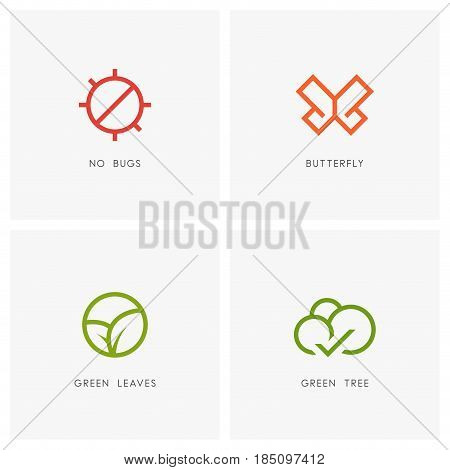 Nature outline logo set. Green leaves, butterfly symbol, stop bug sign and tree with check mark - plant and insect icons.