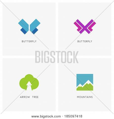 Nature logo set. Butterfly symbol, high mountains and green tree with arrow - plant, insect and ecology icons.