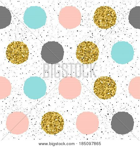 Rounds Seamless Background. Black, Blue, Pink And Gold Round.