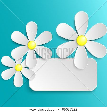 Greeting card template with paper camomile flowers. Vector illustration EPS 10