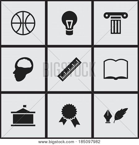 Set Of 9 Editable Science Icons. Includes Symbols Such As Victory Medallion, Straightedge, Pillar And More. Can Be Used For Web, Mobile, UI And Infographic Design.