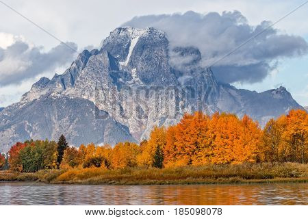 a beautiful sunrise in the Tetons in autumn