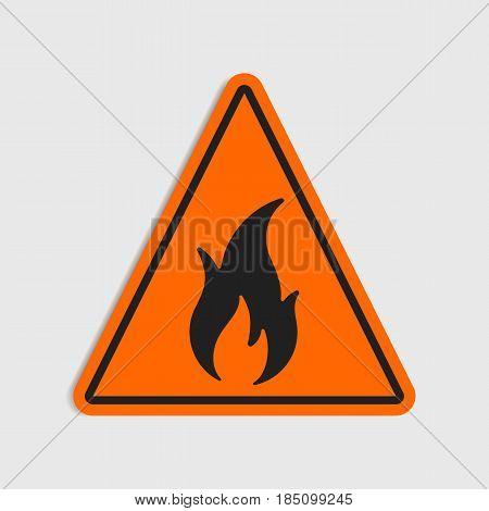 Hazard warning sign. Flammeble. Fire in orange triangle icon.