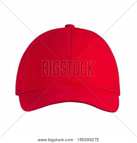 Baseball cap red, on a white background