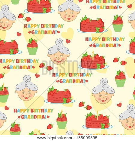 Happy Birthday Grandma. Cute pattern with cake, strawberry, hearts and mother.