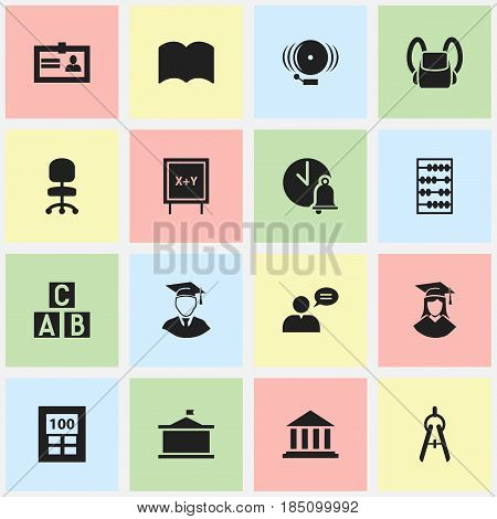 Set Of 16 Editable School Icons. Includes Symbols Such As Diplomaed Male, Thinking Man, Certification And More. Can Be Used For Web, Mobile, UI And Infographic Design.