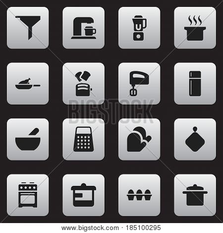 Set Of 16 Editable Food Icons. Includes Symbols Such As Shredder, Soup, Refrigerator And More. Can Be Used For Web, Mobile, UI And Infographic Design.