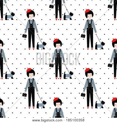 Cute girl with scottish terrier seamless pattern on polka dots background. Vector illustration of girl with dog. Fashion design for textile, wallpaper, fabric etc.