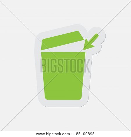 simple green icon with light gray contour and shadow - trashcan with open lid and arrow on a white background