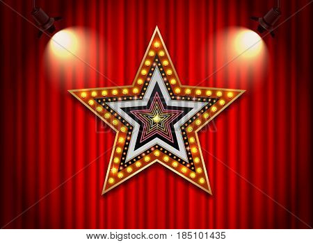 Brightly theater glowing retro cinema neon sign star shape vector illustration