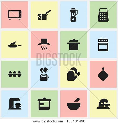 Set Of 16 Editable Food Icons. Includes Symbols Such As Utensil, Cookware, Kitchen Hood And More. Can Be Used For Web, Mobile, UI And Infographic Design.