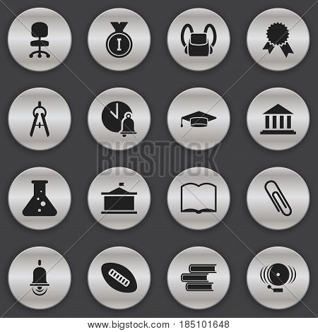 Set Of 16 Editable University Icons. Includes Symbols Such As Schoolbag, Library, Victory Medallion And More. Can Be Used For Web, Mobile, UI And Infographic Design.