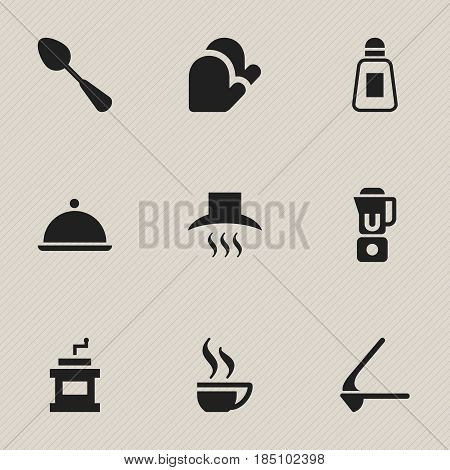 Set Of 9 Editable Cook Icons. Includes Symbols Such As Crusher, Kitchen Hood, Hand Mixer. Can Be Used For Web, Mobile, UI And Infographic Design.