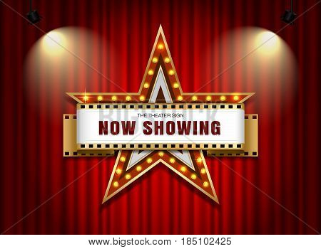 theater sign star shape on curtain with spotlight vector illustration