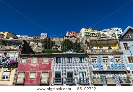 Residential buildings on Ribeira Negra street of Porto riverfront Portugal
