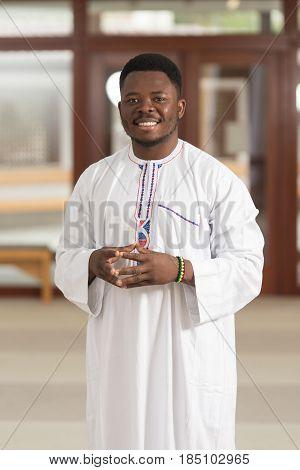 Portrait Of A Black Islamic Man In Mosque