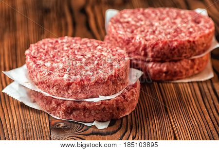 Raw Ground Beef Meat Hamburger Patties On Paper, Wooden Background