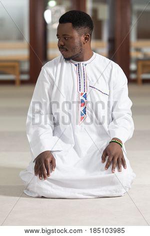 African Muslim Praying In Mosque