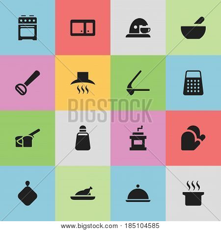 Set Of 16 Editable Cooking Icons. Includes Symbols Such As Mocha Grinder, Crusher, Fried Chicken And More. Can Be Used For Web, Mobile, UI And Infographic Design.