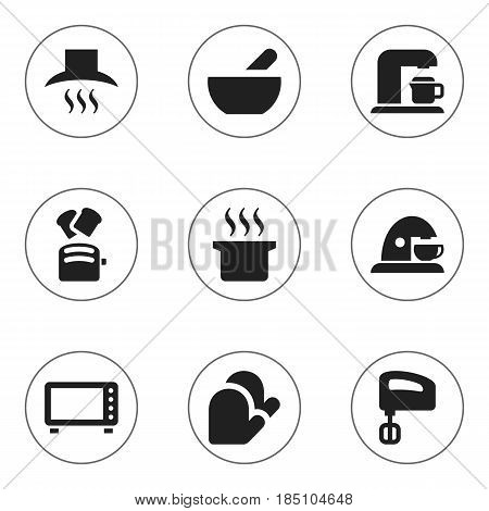 Set Of 9 Editable Cooking Icons. Includes Symbols Such As Cup, Agitator, Slice Bread And More. Can Be Used For Web, Mobile, UI And Infographic Design.