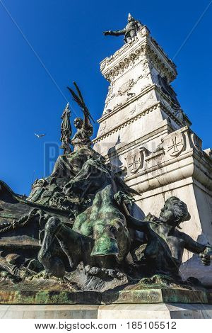 Details of base of Prince Henry the Navigator statue in Porto Portugal