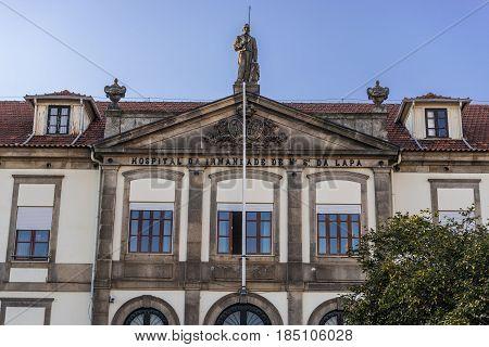 Hospital of Ordem da Lapa front facade in Porto Portugal