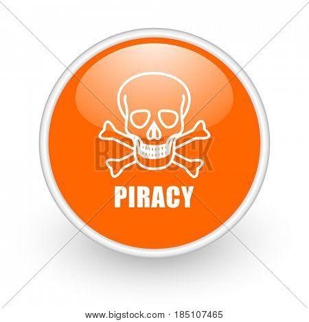 Piracy skull modern design glossy orange web icon on white background.