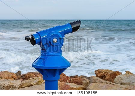 image of observation device on the seashore