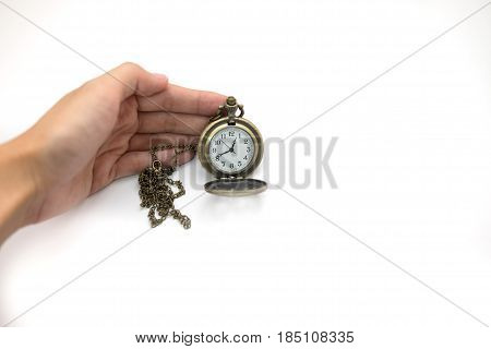 Women Of Hand Holding Old Silver Pocket Watch On White Background, This Image For People And Retro C
