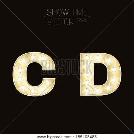 Gold letters C and D with sparkling light bulbs and a pattern. Alphabet for presentations and shows. Realistic vector illustration in 3d style. EPS 10