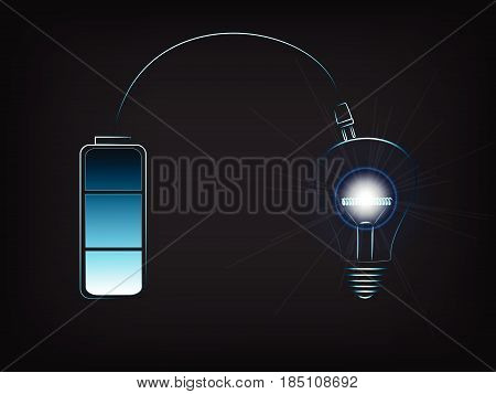 Battery Recharginga Brilliant Idea (lightbulb With Flare), Concept Of Innovation And Energy