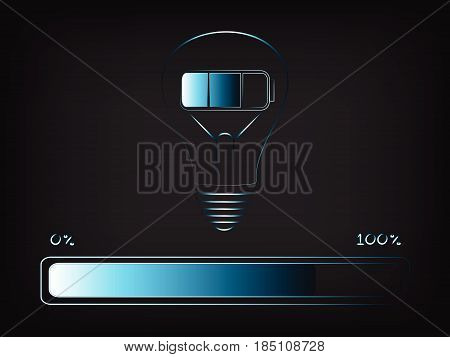 Battery Charging An Idea (lightbulb) With Progress Bar, Concept Of Innovation And Energy