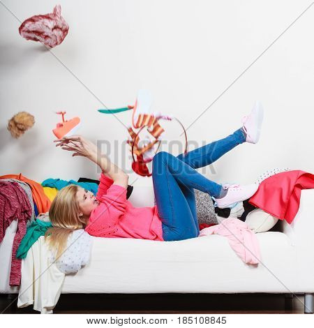 Woman Lying On Sofa, Pelted Clothes