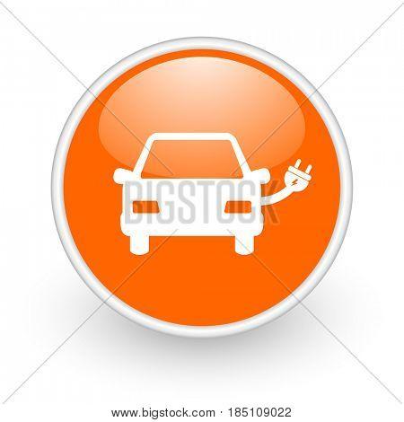 Electric car modern design glossy orange web icon on white background.
