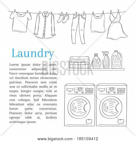 Laundry room with washing machine, detergent, folded clothes and clothes drying on rope, vector illustration, hand drawn sketch style.