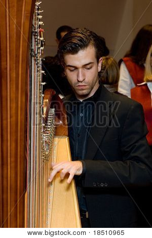 VALENCIA, SPAIN - DECEMBER 4: A musician plays the harp as the choir of the University Catolica de Valencia performs at the Palau de la Musica concert hall on December 4, 2009 in Valencia, Spain.