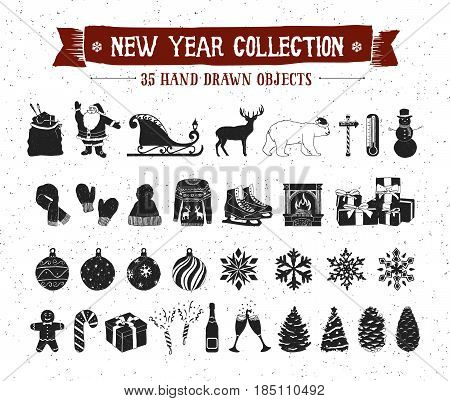 Hand drawn textured New Year icons set with Santa Claus bag sleigh deer polar bear snowman Christmas tree balls snowflakes pine cones fir trees knitted hat mittens scarf vector icons.
