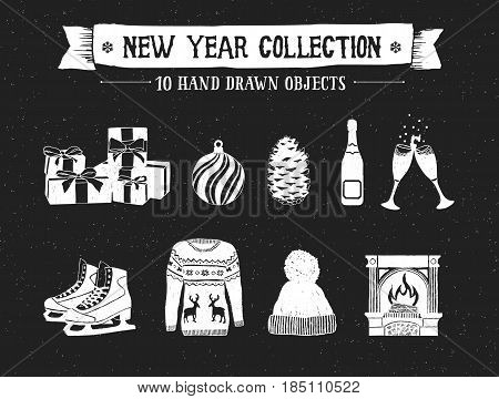 Hand drawn textured New Year icons set with pile of gifts decorative ball pine cone champagne bottle and glasses ice skates Christmas sweater knitted cap and fireplace vector illustrations.