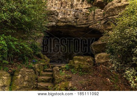 Tourist Route, Powerful Rocks And Vegetation, Rock Cave, Interesting Tourist Destination, Geology