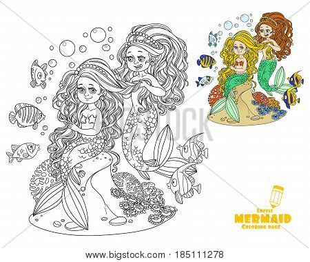Cute Girl Mermaid Plait Braids Friend Mermaid Coloring Page On White Background