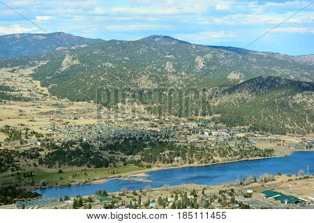 Estes Park Colorado with Lake Estes on a Sunny Summer Day