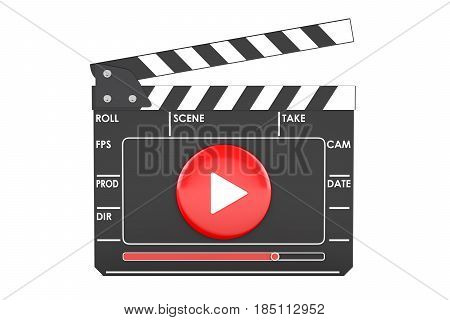 Digital movie clapper board cinema concept. 3D rendering isolated on white background