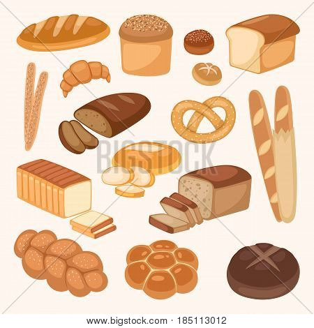 Bread bakery products color vector illustration organic agriculture meal fresh pastry. Wheat barley bun roll loaf rye healthy breakfast. Freshness natural grocery cooking baking food.