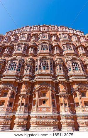 Hawa Mahal The Most Iconic Symbol At Jaipur, Capital City Of Rajasthan, India. Wide Angle From Below