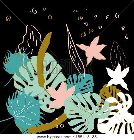 Vector hand drawn pattern with tropical leaves and flowers. An idea for design.