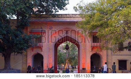 Jaipur India - February 5 2017: The City Palace entrance gate at Jaipur capital city of Rajasthan India.
