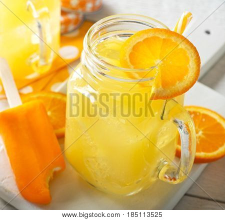 A delicious creamsicle cocktail with vanilla vodka oranges juice and soda water.